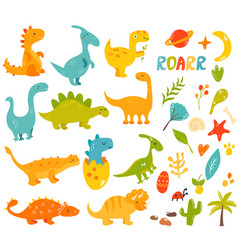 big set of cute and cool hand drawn dinos vector image
