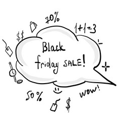 black friday hand dawn doodle vector image