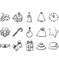 black outline new year and christmas icons vector image