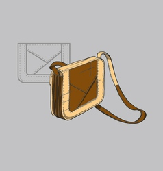 Brown handbag with beige accents vector