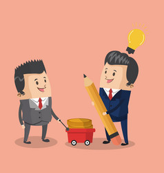 Businessmens with money on cart vector
