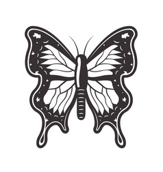 Butterfly tattoo style black vector
