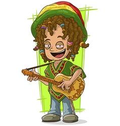 Cartoon happy Rastaman with guitar vector image