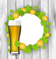 Celebration card with glass of light beer vector