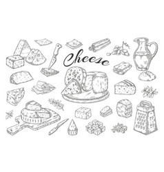 Cheese sketch hand drawn milk products gourmet vector
