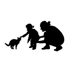 Child silhouette with mom and cat silhouette in vector