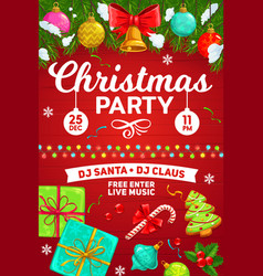 christmas party poster holiday celebration gifts vector image
