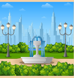City park background with fountain vector