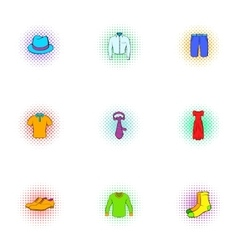 Clothing icons set pop-art style vector image