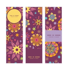 Colorful stars vertical banners set pattern vector