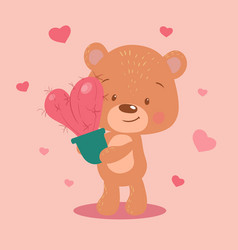 Cute cartoon bear with a heart-shaped cactus for vector