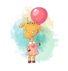 Cute cartoon giraffe girl in a dress with a vector