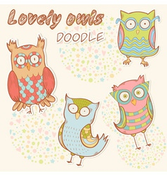 Cute cartoon owl stylish sticker set collection vector image