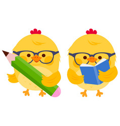 Cute chick students reading and writing vector