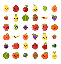Cute emoji smile fresh fruit apple cherry vector