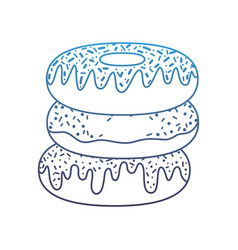 Degraded line delicious fresh donuts sweet snack vector