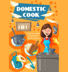 Domestic cook woman on kitchen vector