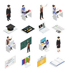 E-learning isometric icons set vector