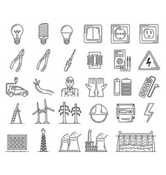 Electric power electricity repair tools line icons vector
