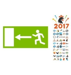 Emergency exit icon with 2017 year bonus vector
