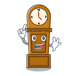 Finger grandfather clock mascot cartoon vector