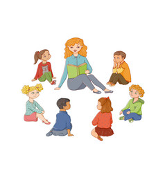 Flat cartoon children sitting around woman vector