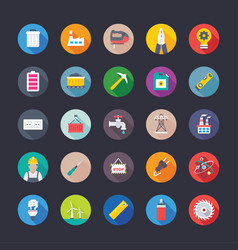 flat icons of construction and industries vector image