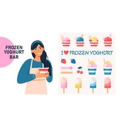 frozen yogurt ice cream concept vector image