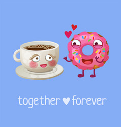 funny food characters cup coffee and pink donut vector image