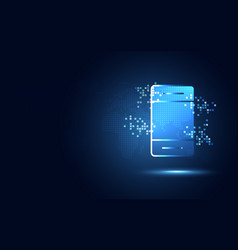 Futuristic blue smartphone with pixels abstract vector