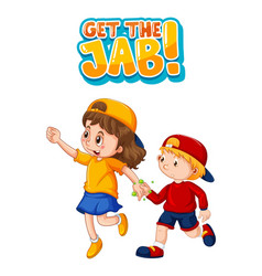 get jab font in cartoon style with two kids vector image