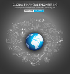 Global Financial Engineering concept with Doodle vector