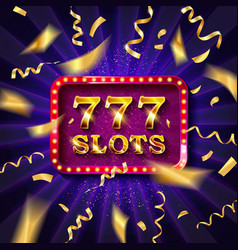 Golden slot machine with flying golden confetti vector