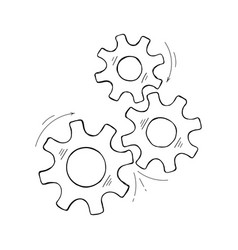 Hand drawn cog and wheel development concept vector
