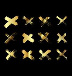 hand drawn set cross brush strokes x gold vector image