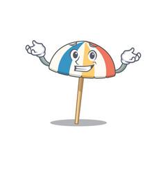 Happy face beach umbrella mascot cartoon style vector