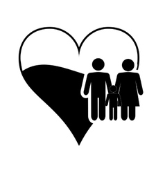 heart cartoon and family pictogram icon vector image vector image