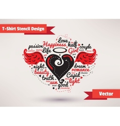 Heart with wings T-Shirt Stencil Design vector