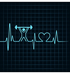 Heartbeat make lifting man and heart symbol vector image