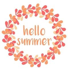 Hello summer wreath card isolated on white vector