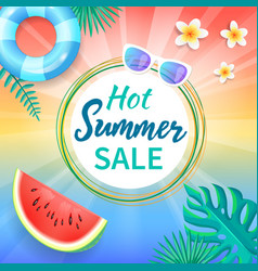 Hot summer sale background tropical leaves vanilla vector