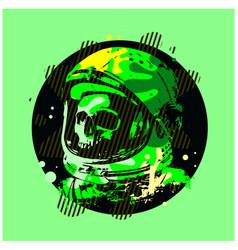 Human skull astronaut helmet sketch engraving vector