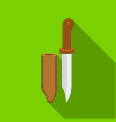 Hunting knife icon in flat style isolated on white vector