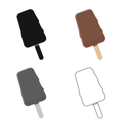 Ice cream icon in cartoon style for web vector