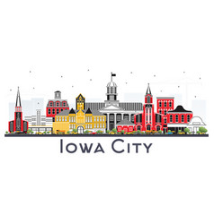 Iowa city skyline with color buildings isolated vector
