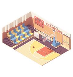 isometric gymnasium basketball court vector image