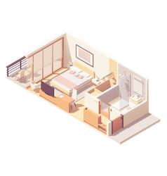 Isometric hotel room cross-section vector