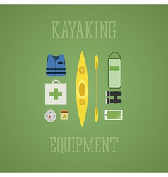 Kayaking equipment icons set Kayak on a multicolor vector