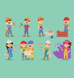 Kids builders children boys and girls vector