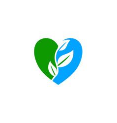 leaf love logo vector image
